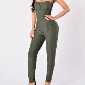 Fashion Nova Olive sweetheart jumpsuit - L
